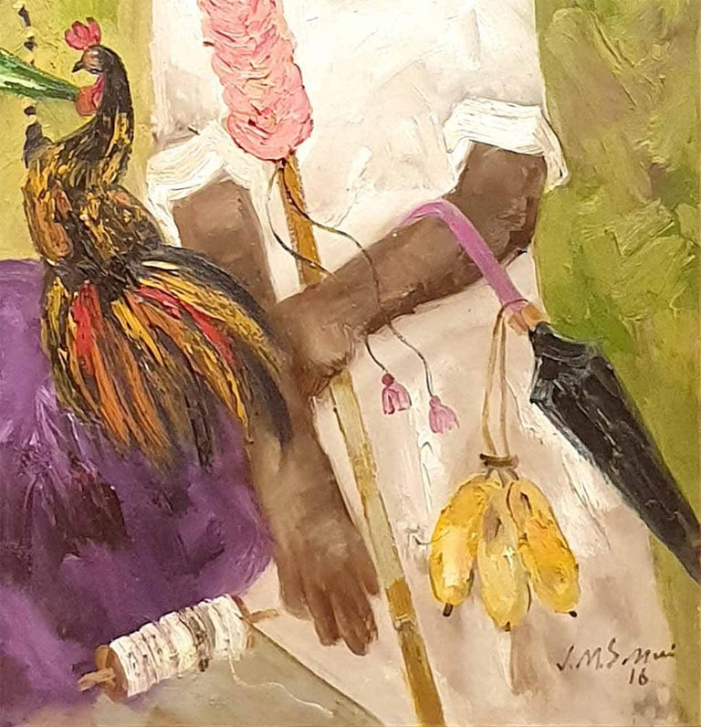 JMS Mani - Badami People Oil on Canvas - 40 x 40 inches (unframed size) Inclusive of shipment in ready to hang form.  The simple, rustic folk of the Deccan Plateau in South India, with strong Dravidian (an ancient race in South India) features, are