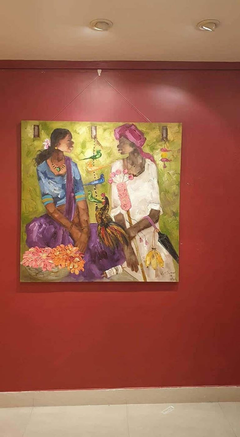 Indian Man & Woman , Rooster , Flowers , Oil on Canvas, Green Orange