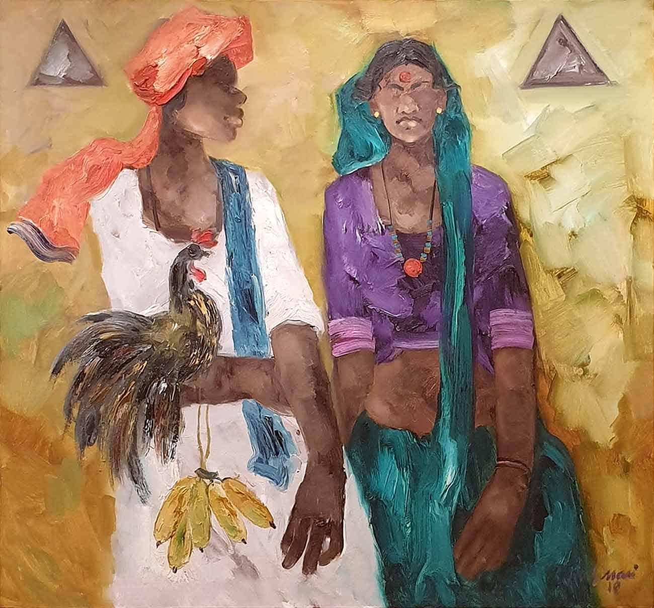 """South Indian Village,Man and Woman,Oil on Canvas,Yellow Orange Green""""In Stock"""""""