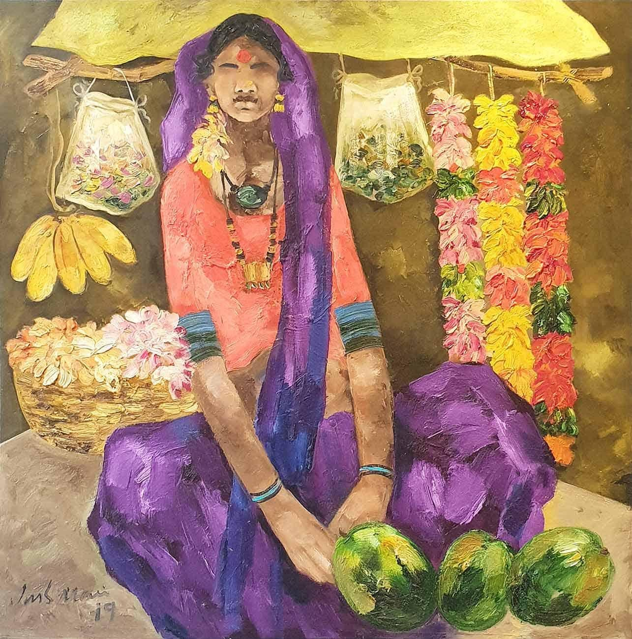 """Indian Woman from Badami Village, Selling Flowers, Oil on Canvas""""In Stock"""""""