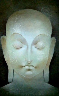 "Buddha, God, Mixed Media on Paper, Green, Blue by Indian Artist ""In Stock"""