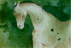 "Horse, Mixed Media on Paper, Green by Indian Contemporary Artist ""In Stock"""