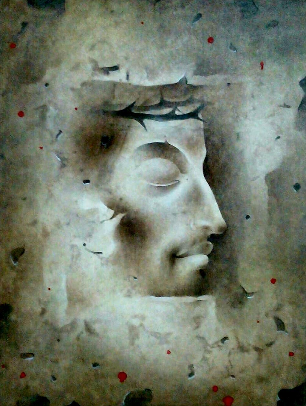 """Jesus Christ, Mixed Media on Paper, Grey, Blue by Indian Artist """"In Stock"""""""