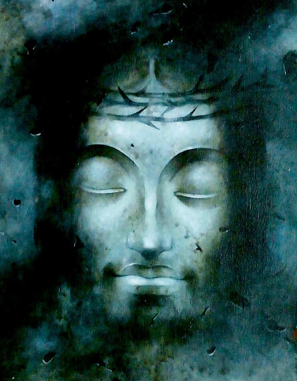 """Jesus Christ, Mixed Media on Paper, Blue by Indian Artist """"In Stock"""""""