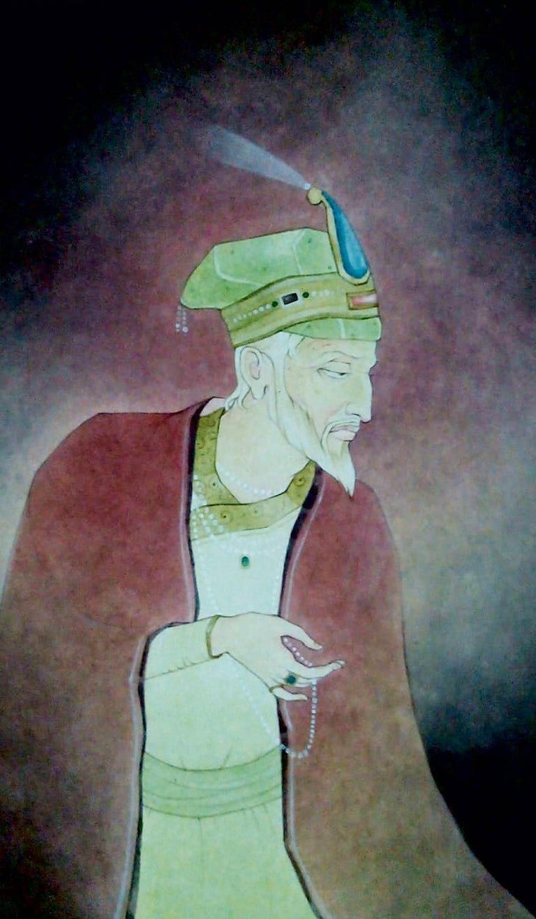 """Mintu Naiya Figurative Painting - King, Indian, Wash on Paper, Green, Red by Contemporary Artist """"In Stock"""""""