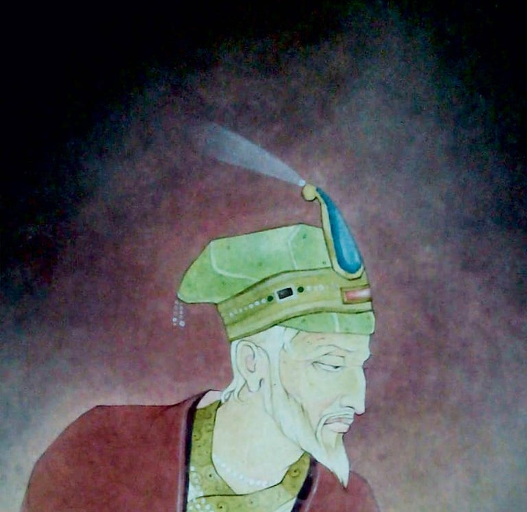 King, Indian, Wash on Paper, Green, Red by Contemporary Artist