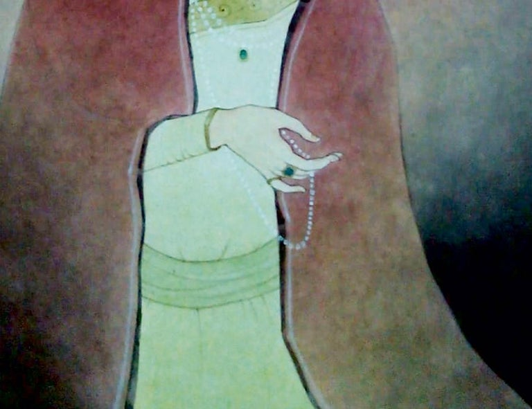 Mintu Naiya - King - 16 x 9 inches ( unframed size ) Wash on Paper  ** Shipped in roll form.  About the Artist & his Art work : Born : November, 1976.  Education : Graduate from Calcutta University,Trained in Indian painting from late Sri