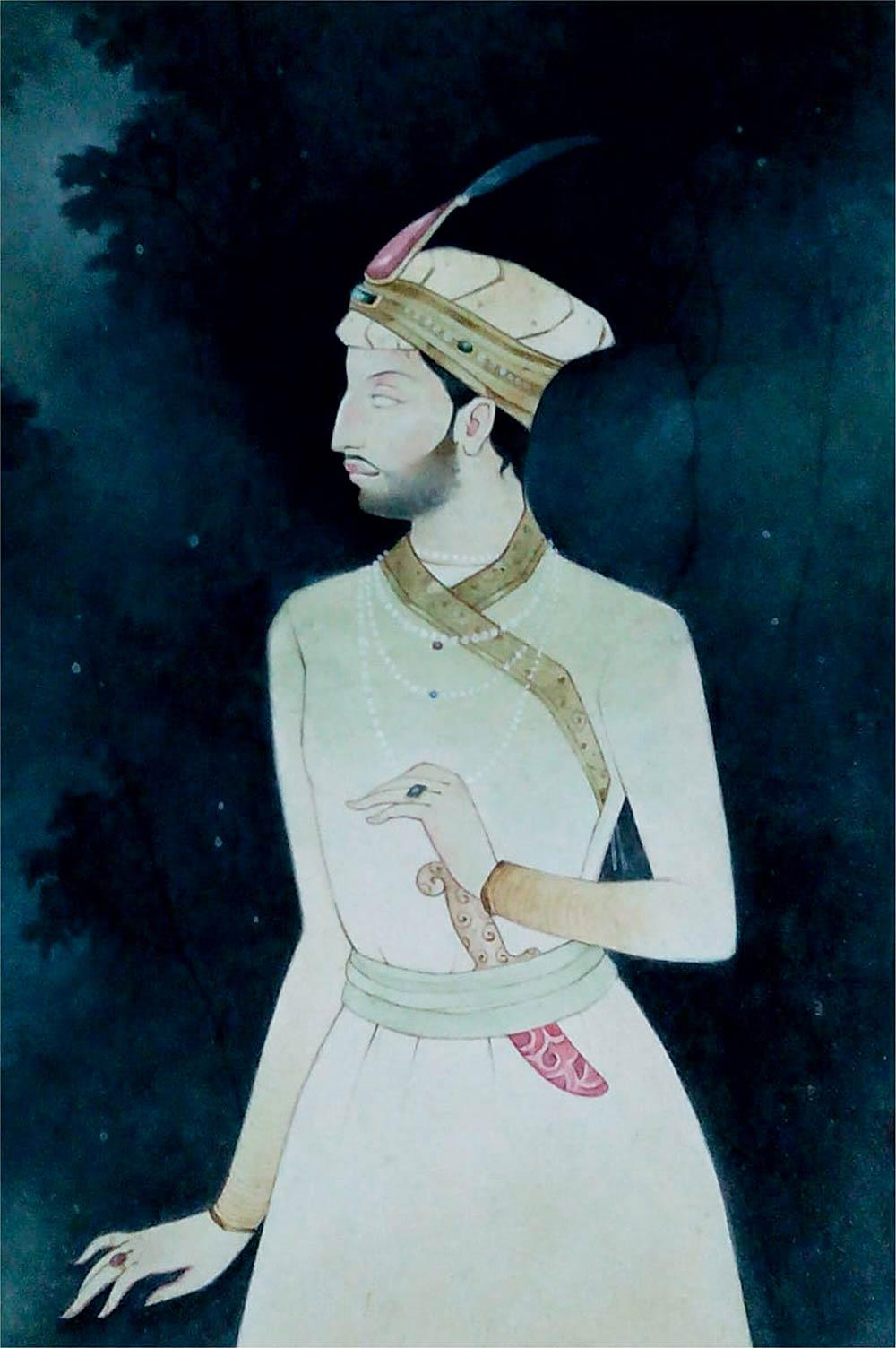 """Indian King, Wash on Paper, Blue, Green by Indian Contemporary Artist """"In Stock"""""""