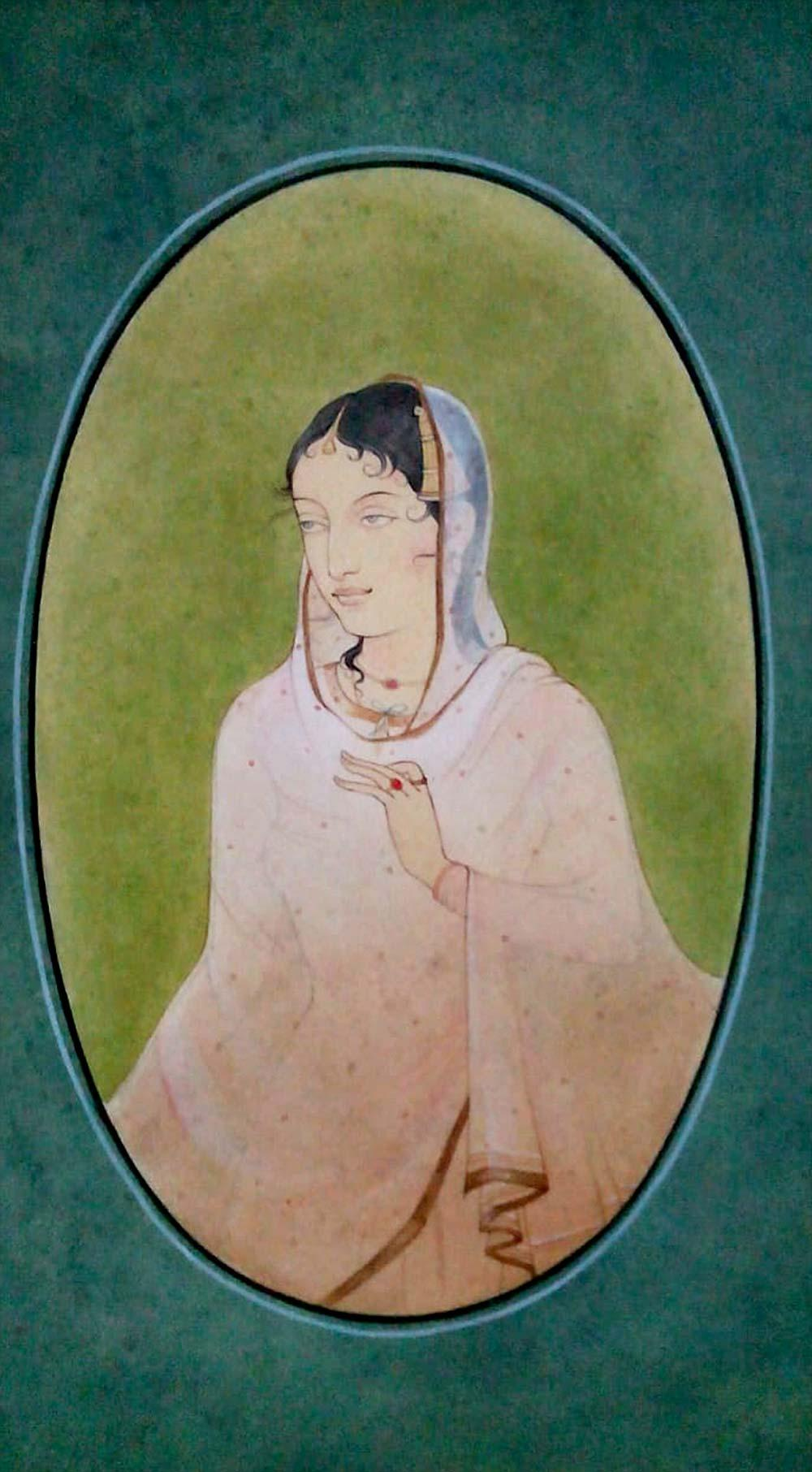 """Lady, Wash on Paper, Green, Blue by Indian Contemporary Artist """"In Stock"""""""