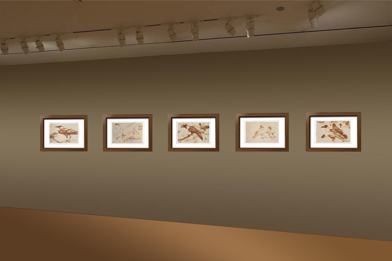"Crow Series, Drawings, Brush, Watercolor on Paper, Brown Sepia Color ""In Stock"""