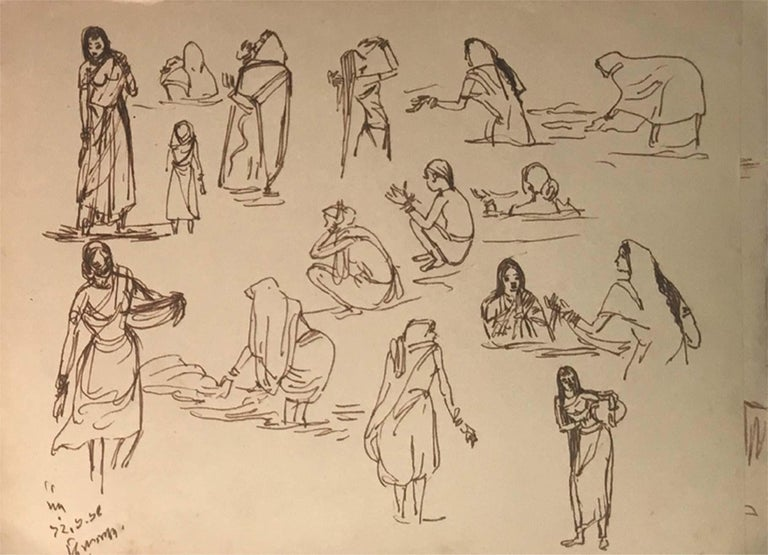 Indian Figurative, Drawing, Ink on Paper,Two sided work by Indra Dugar
