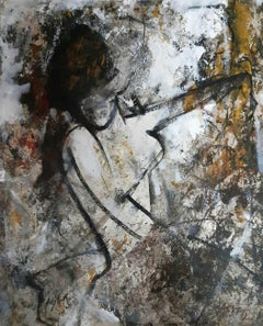 "Nude Woman, Acrylic on Paper, Yellow, Brown, White by Indian Artist ""In Stock"""