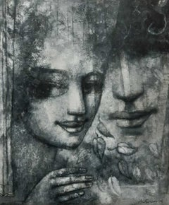 """Women, Face, Charcoal on Canvas, Black & White by Indian Artist """"In Stock"""""""