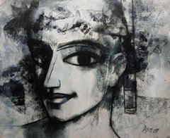 """Woman, Face, Charcoal on Canvas, Black & White by Indian Artist """"In Stock"""""""