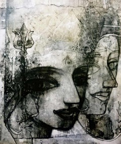 """Devi, Mythology, Charcoal on Canvas, Black & White by Indian Artist """"In Stock"""""""