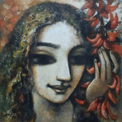 """Woman, Face, Acrylic on Canvas, Red, Brown, Green by Indian Artist """"In Stock"""""""
