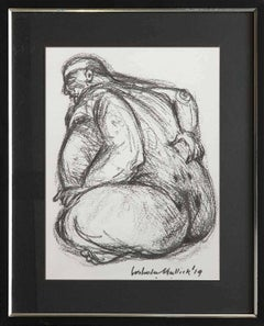 "Figurative, Drawing, Charcoal on paper, Black, White by Indian Artist ""In Stock"""