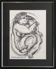 "Nude, Figurative, Drawing, Charcoal on paper by Indian Artist ""In Stock"""
