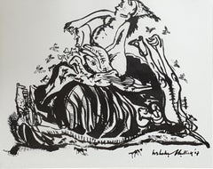 "Figurative, Drawing, Ink on paper, Black, White by Indian Artist ""In Stock"""