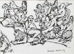 """Drawing, Figurative, Animal, Ink on paper, Black, White, Indian Artist""""In Stock"""""""
