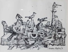 "City Life, Drawing, Ink on paper, Black, White by Indian Artist ""In Stock"""