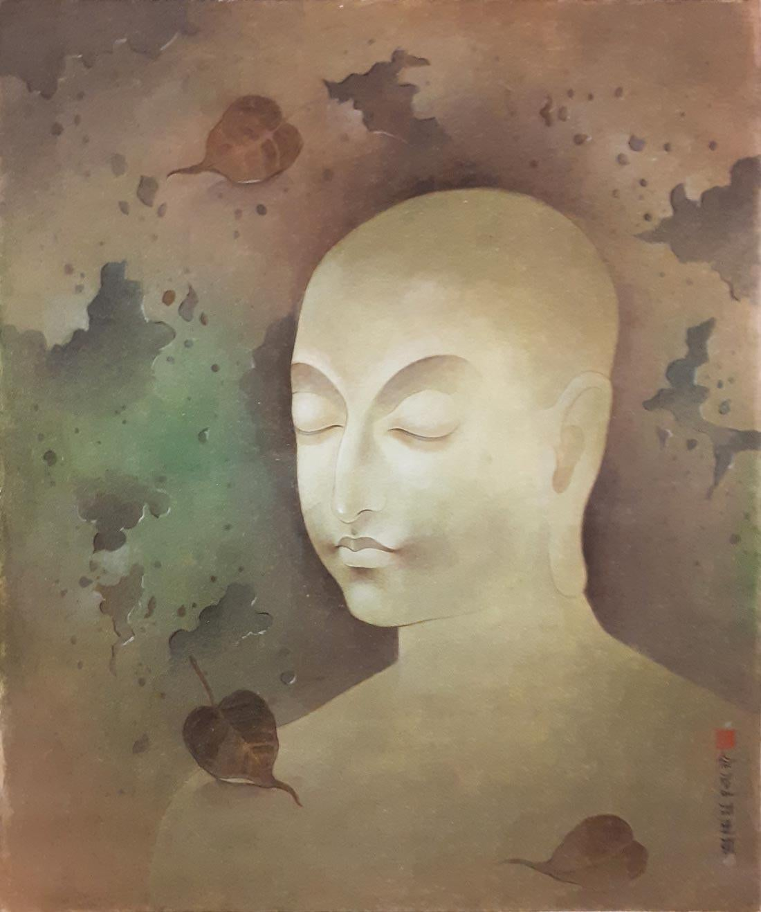"""Enlightened, Wash on Board ,Green Brown by Indian Contemporary Artist """"In Stock"""""""
