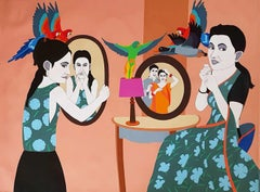 """Mirror Couple, Acrylic on Canvas, Painting, Red, Green, Blue Colors """"In Stock"""""""