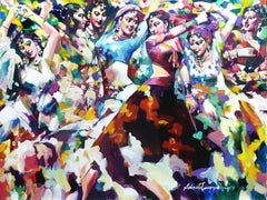 """Dandia, Raas, Dancing Women, Acrylic on Canvas, Blue, Red, Green """"In Stock"""""""