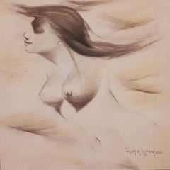 "Nude Woman, Drawing, Conte on Canvas, Brown by Indian Artist ""In Stock"""