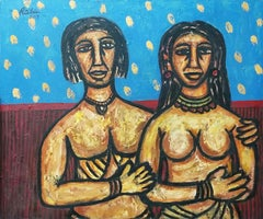 "Couple, Nude, Oil & Acrylic on Canvas, Blue, Brown by Indian Artist ""In Stock"""