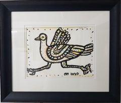 "Bird, Ink & Pastel on paper, Orange, Blue, Blue, Pink by Modern Artist""In Stock"""