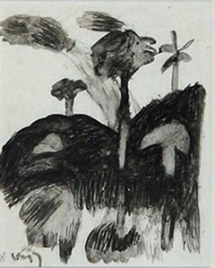 "Trees, Drawing, Watercolor on paper by Indian, Padma Bhushan Artist ""In Stock"""