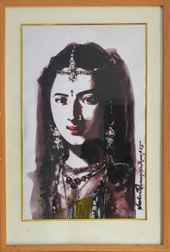 "Indian Woman, Figurative, Acrylic on paper, Red, Brown by IndianArtist""In Stock"""