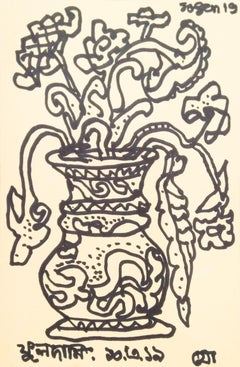 "Flower Vase, Ink on Postcard, Drawings by Modern Indian Artist ""In Stock"""