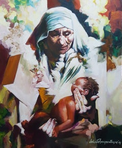 """Mother & Child, Mother Teresa, Acrylic on Canvas by Indian Artist """"In Stock"""""""