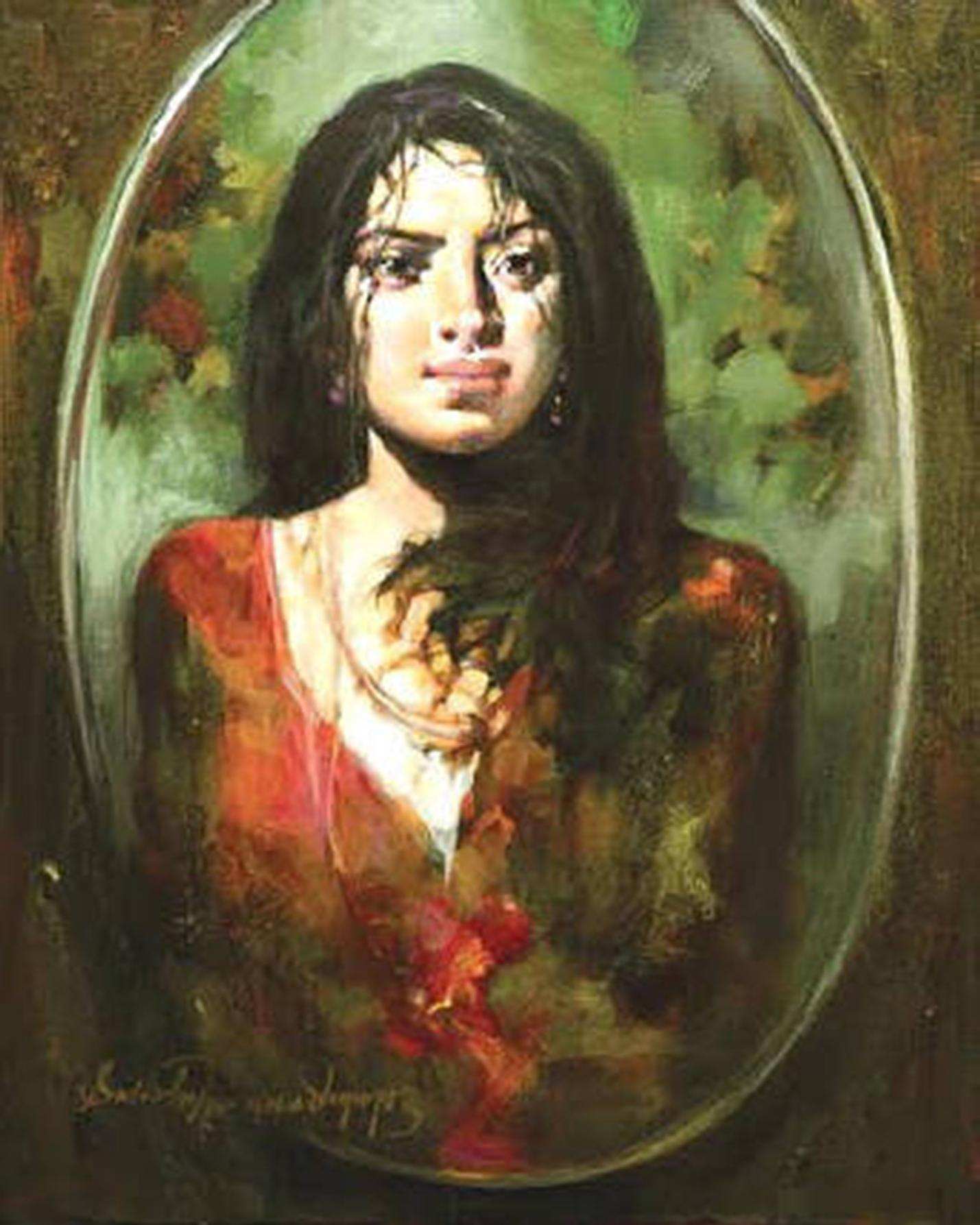 """The Mirror, Woman, Oil, Acrylic on Canvas, Green, Red by Indian Artist""""In Stock"""""""