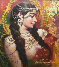 """Bejeweled Woman, Acrylic on Canvas, Figurative, Red, Yellow Colour  """"In Stock"""""""