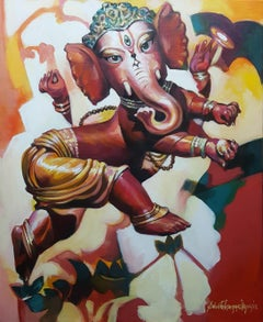 "Ganesha, Mythology, Acrylic on Canvas, Red, Yellow by Indian Artist ""In Stock"""