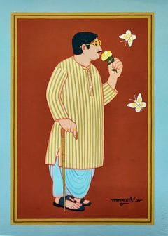 """Bengali Babu, Tempera on Board, Red, Blue, Brown by Master Artist """"In Stock"""""""