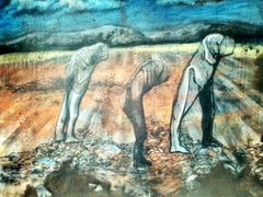 "Figurative, Mixed Media on Canvas, Blue, Brown, Green by Indian Artist""In Stock"""