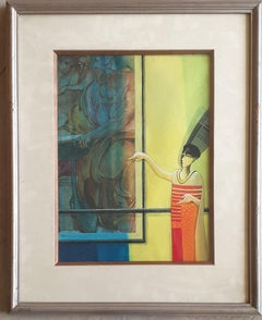"""Framed Photograph, Acrylic on Paper, Red, Blue, Yellow, Indian Artist """"In Stock"""""""