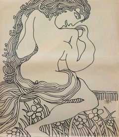 "Nude Woman in Garden, Drawing, Marker on Paper by Modern Indian Artist""In Stock"""
