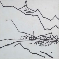 "Landscape, Drawing, Ink on paper, Black, White by Modern Indian Artist""In Stock"""