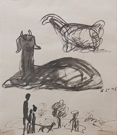 """Drawing, Animal, Figurative, Ink & Charcoal on paper by Indian Artist """"In Stock"""""""