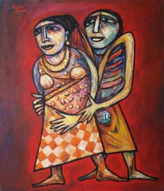 "Couple Embrace, Brick Red,Brown Grey Colour by Rabin Mondal Artist""In Stock"""