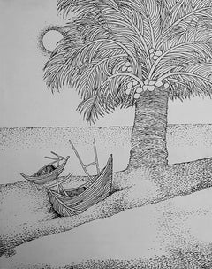 """Landscape,Beach Trees Boat, Ink on Canvas by Famous Prakash Karmakar""""In Stock"""""""