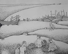 """Beach, Boat, Market, Ink on Canvas by Famous Indian Master Artist """"In Stock"""""""