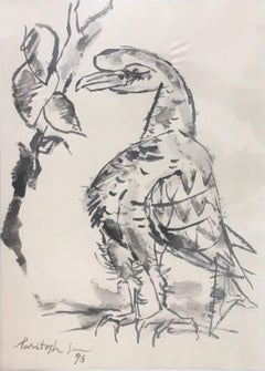 "Bird, Drawing, Charcoal on paper, Black, White By Master Indian Artist""In Stock"""