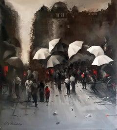 "Kolkata Street, Rainyday, Acrylic on Canvas, Red, Black, Indian Artist""In Stock"""