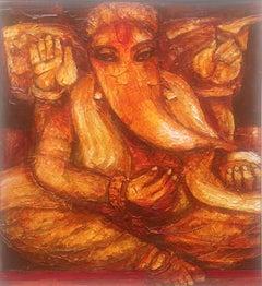 "Ganesha, Hindu God, Mythology, Acrylic on canvas, Red by Indian Artist""In Stock"""